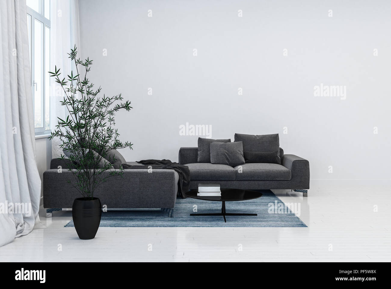 Black Couch With Cushions And Black Plant Pot On Top Of Rug Next To Window With Curtains In Glossy Contemporary White Room 3d Rendering Stock Photo Alamy
