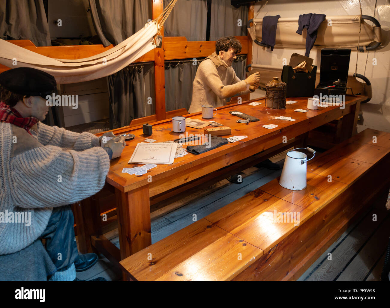 Mess room, RRS Discovery, Captain Scott's Antarctic ship, Discovery Point, Dundee, Scotland, UK - Stock Image