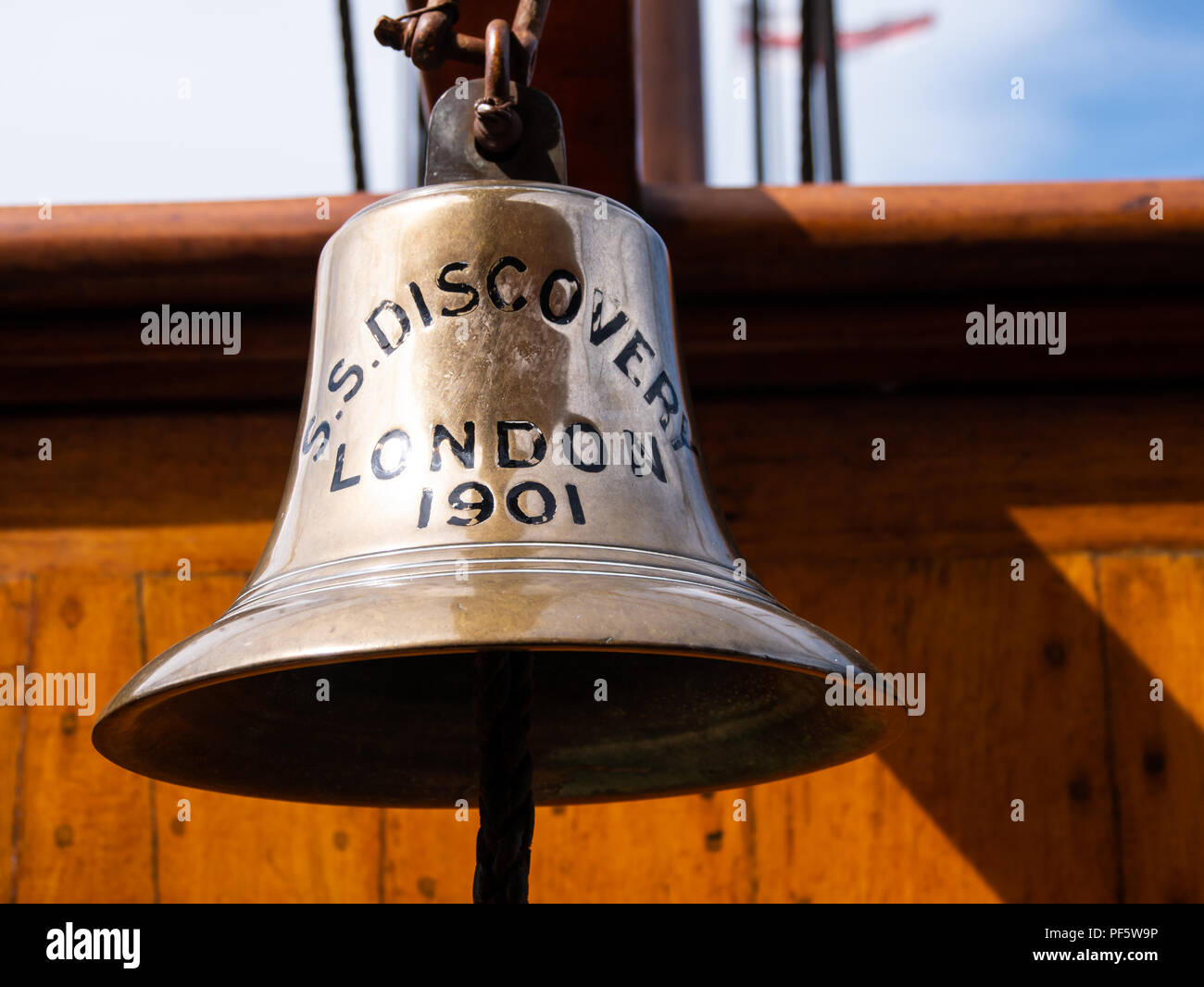 Ship's bell, RRS Discovery, Captain Scott's Antarctic ship, Discovery Point, Dundee, Scotland, UK - Stock Image