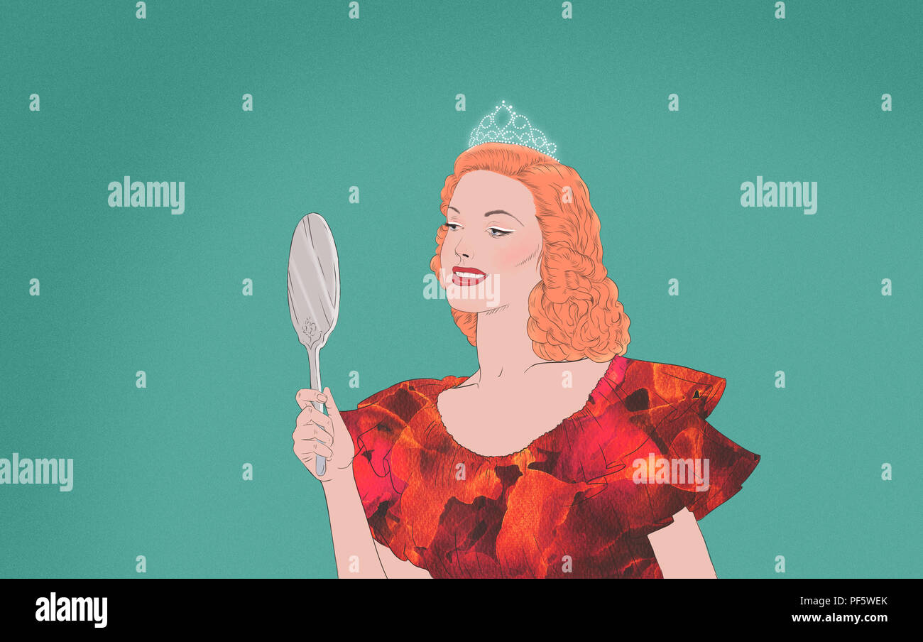 Selfish Beauty Queen looks herself in the mirror - Stock Image