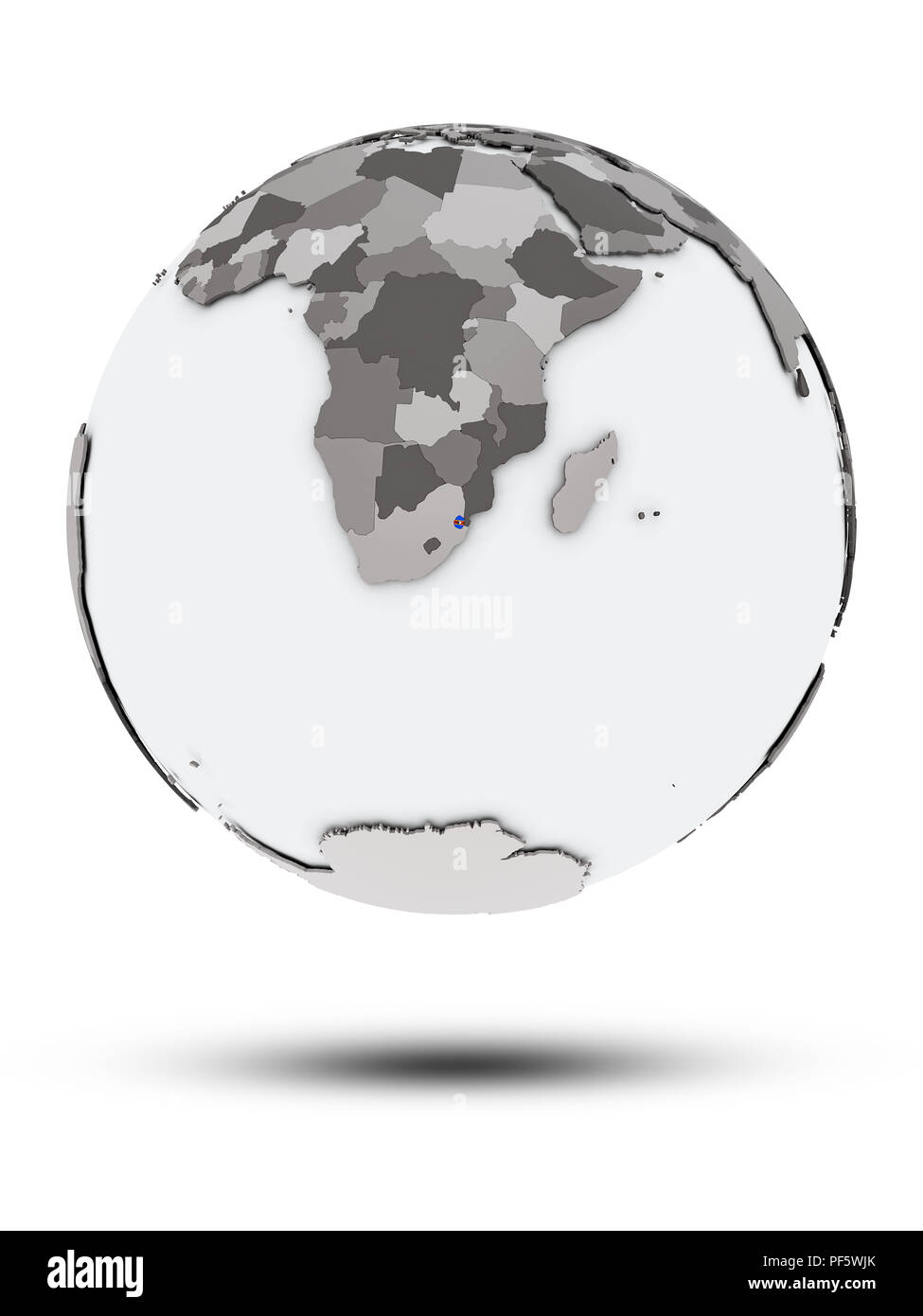 Swaziland with flag on globe with shadow isolated on white background. 3D illustration. Stock Photo