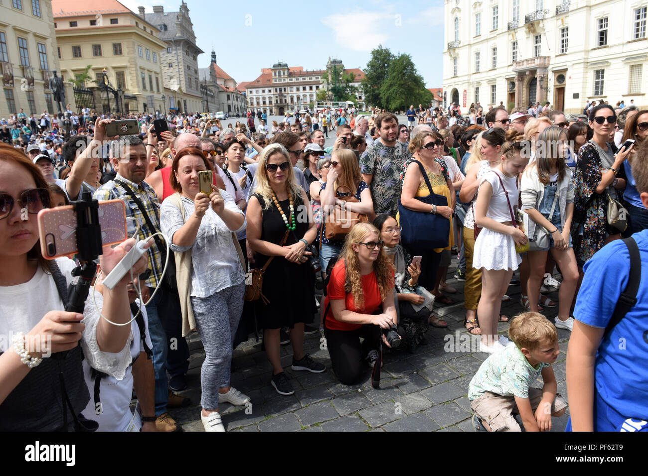 Crowds of tourists watching the Changing of the Guard ceremony at Prague Castle, Czech Republic. Stock Photo