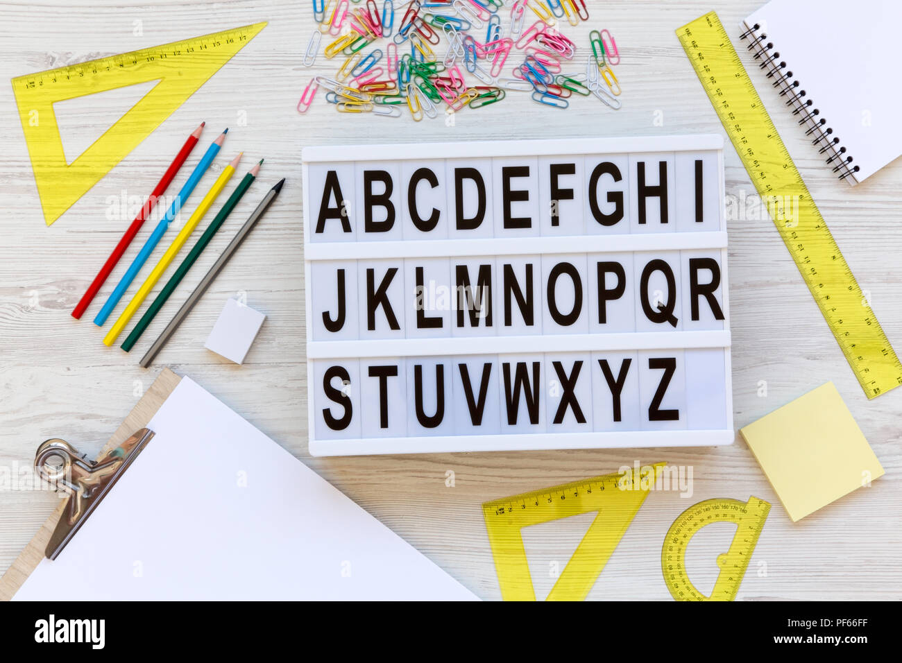 Back to school concept  Letters from A to Z  English