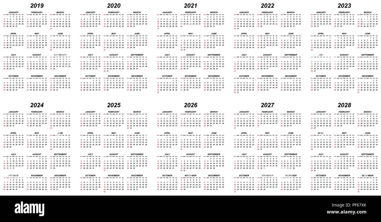 ten years simple editable vector calendars for year 2019 2020 2021 2022 2023 2024 2025 2026