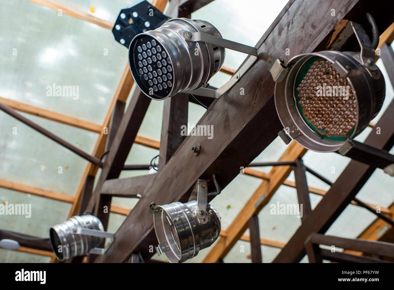 Chromed concert LED lamps - Stock Image