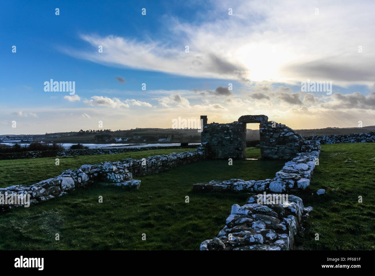 Old ruins of Nendrum Monastry, Mahee Island, County Down, N.Ireland. - Stock Image