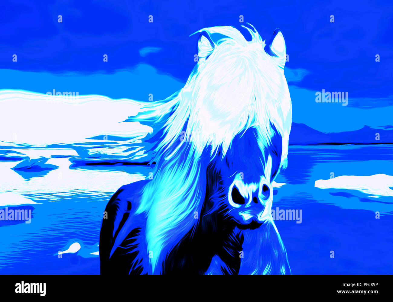 Winter Landscape With A Blue And White Fantasy Horse Running Stock Photo Alamy