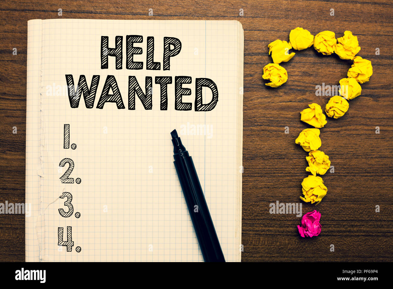 Word writing text Help Wanted. Business concept for advertisement placed in newspaper by employers seek employees Notebook marker crumpled papers form - Stock Image