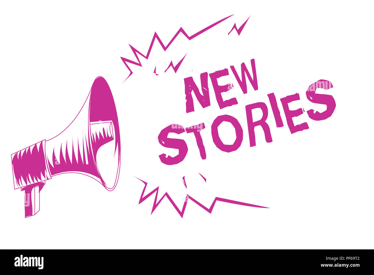 Word writing text New Stories. Business concept for imaginary or real people and events told for entertainment Purple megaphone loudspeaker important  - Stock Image