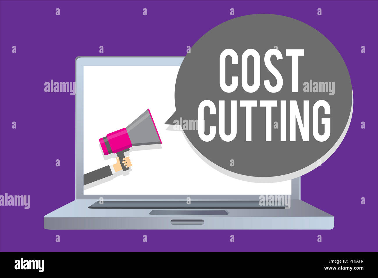 Word writing text Cost Cutting. Business concept for Measures implemented to reduced expenses and improved profit Man holding megaphone loudspeaker sp - Stock Image