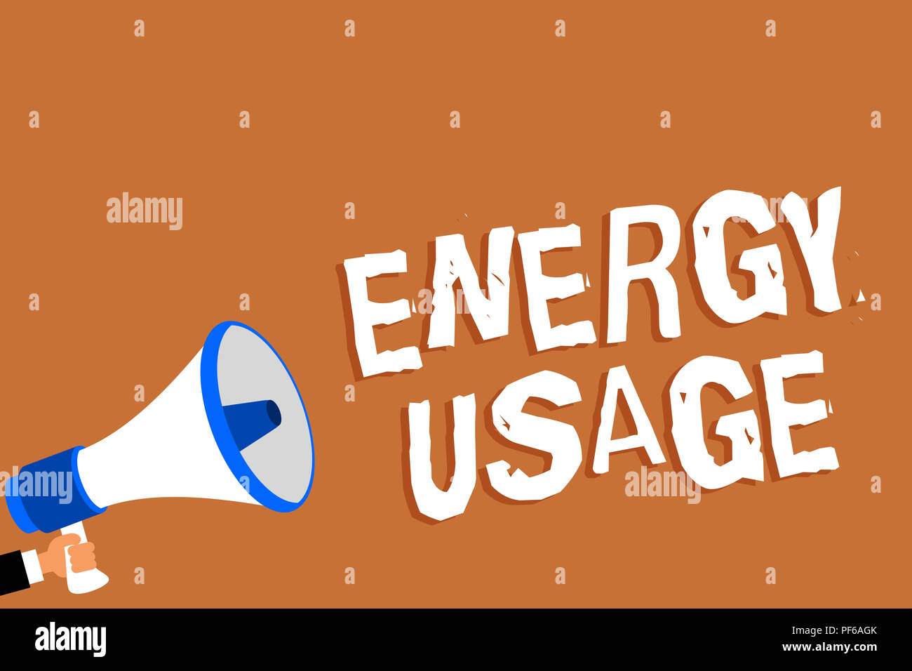 Text sign showing Energy Usage. Conceptual photo Amount of energy consumed or used in a process or system Man holding megaphone loudspeaker orange bac - Stock Image