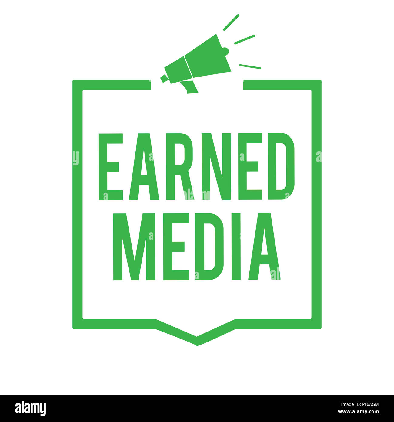 Writing note showing Earned Media. Business photo showcasing Publicity gained through promotional efforts by multimedia Megaphone loudspeaker green fr - Stock Image