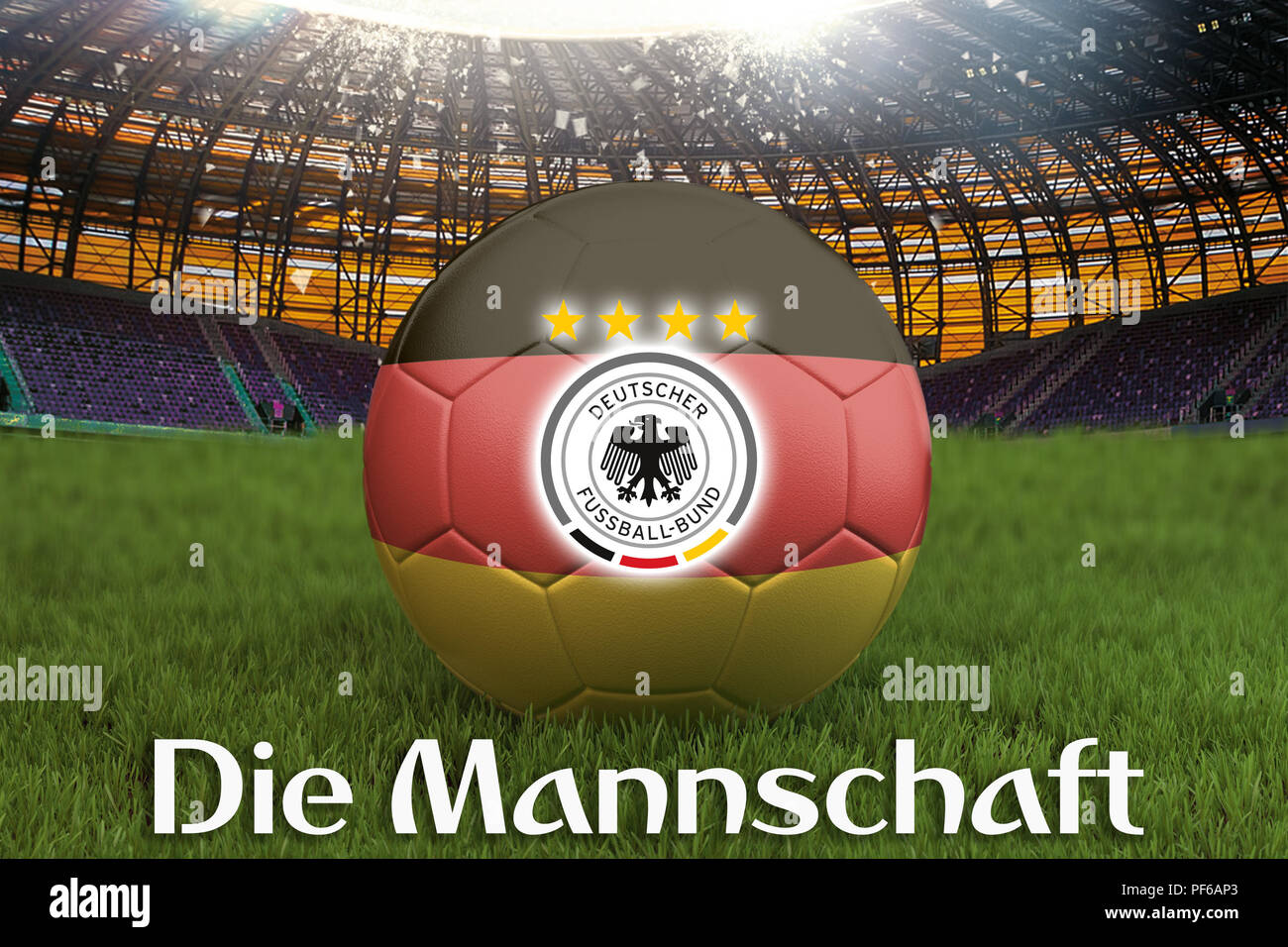 Die Mannschaft on Germany language on football team ball on big stadium background with Germany Team logo competition concept. Germany flag on ball te - Stock Image