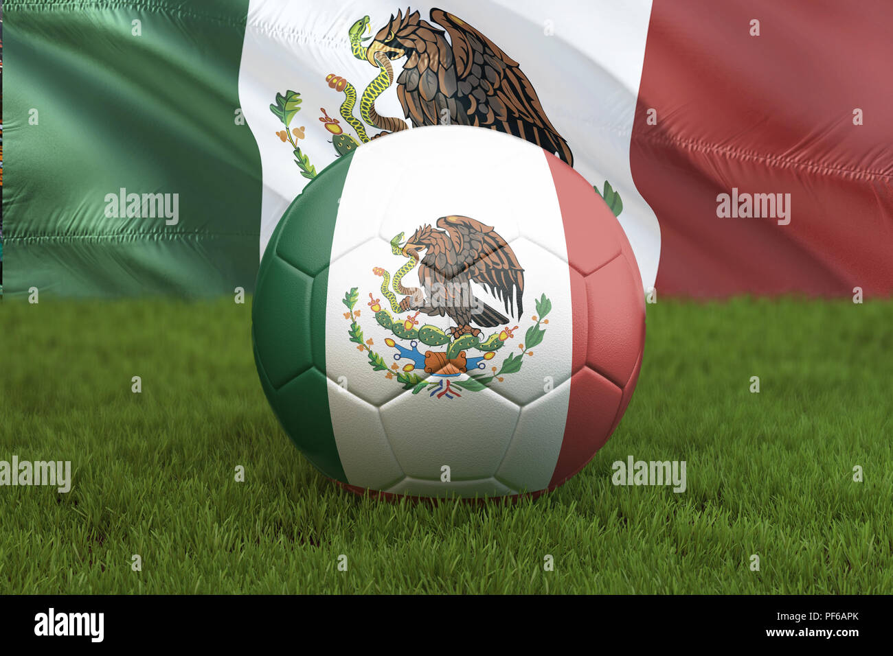 Mexico football team ball on big stadium background. Mexico Team competition concept. Mexico flag on ball team tournament in Mexico. Sport competition - Stock Image