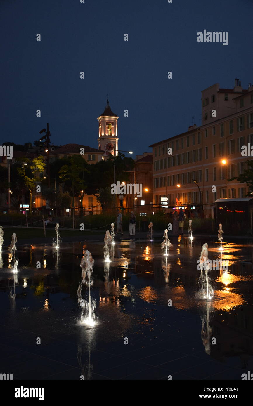 Water Park on the Promenade Du Paillon on the Place Massena in Nice, France - Stock Image