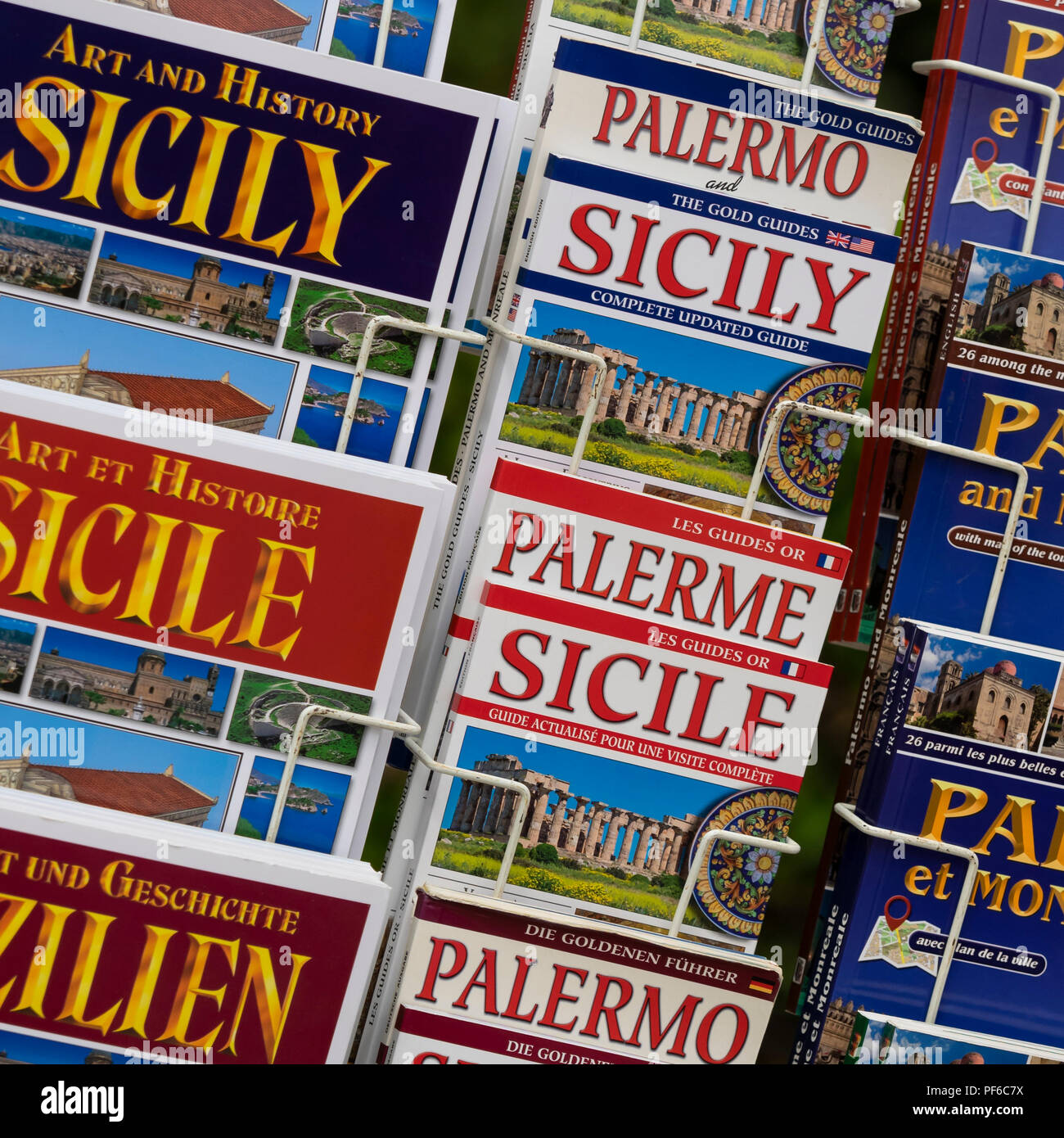 PALERMO, SICILY:  Guide Books in Souvenir Gift  Shop - Stock Image