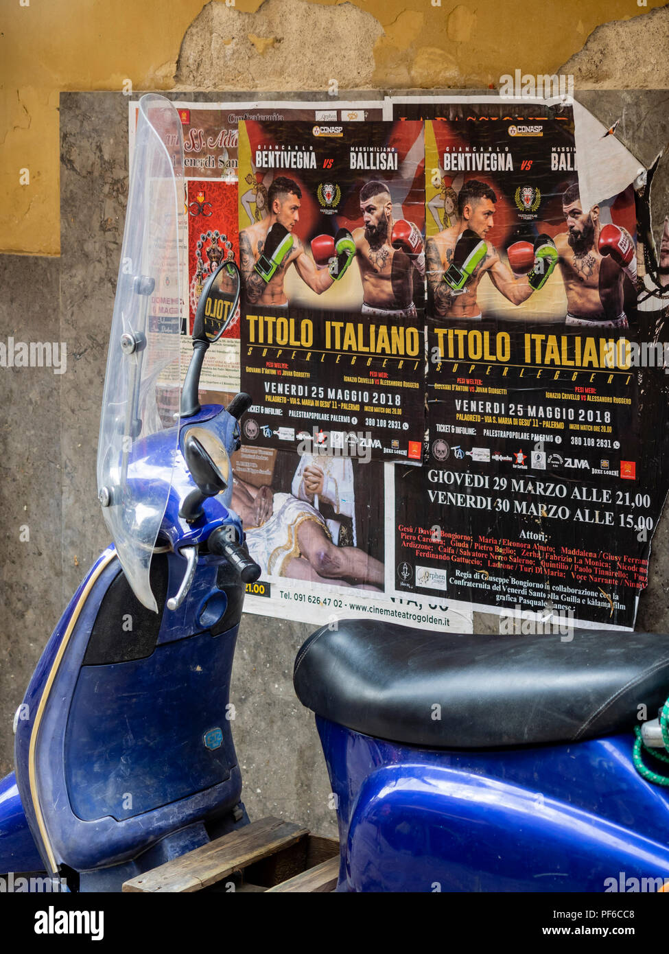 PALERMO,  SICILY: Scooter and Wall Poster - Stock Image