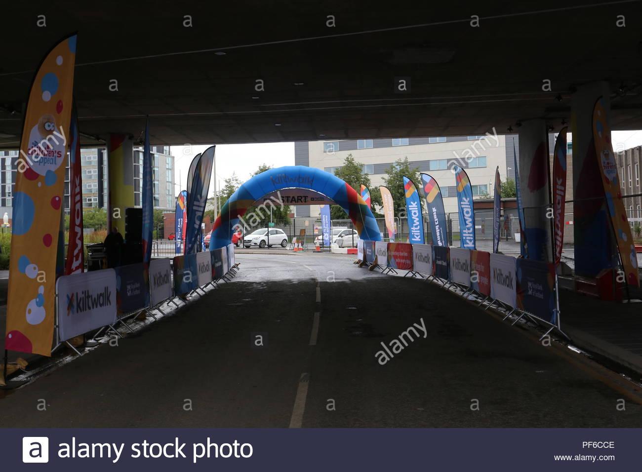 Start of Wee wander Kilt Walk under Tay Road Bridge Dundee Scotland  19th August 2018 - Stock Image