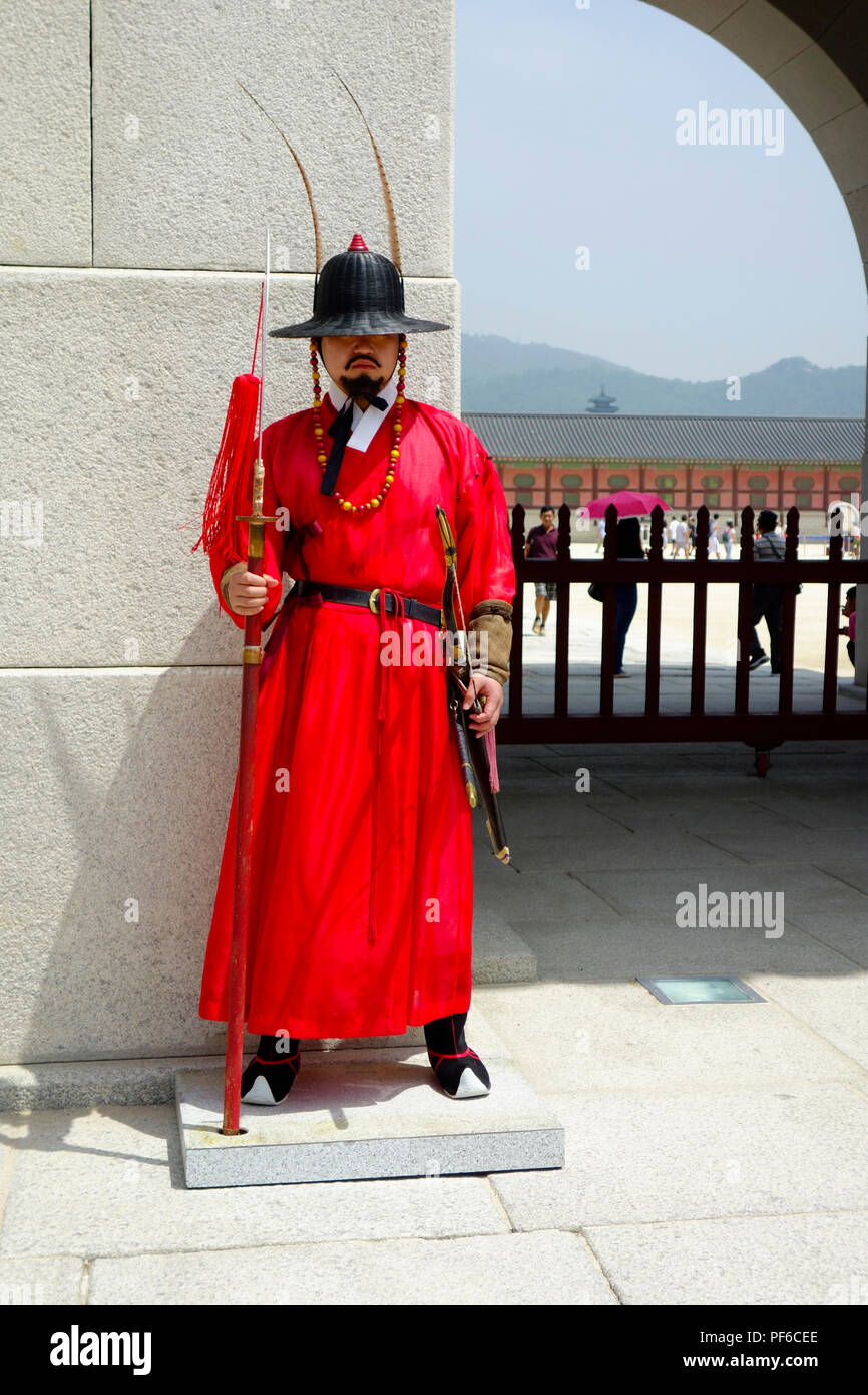 Changing of the guards ceremony, Gyeongbokgung Palace, Seoul, South Korea, Asia. Stock Photo