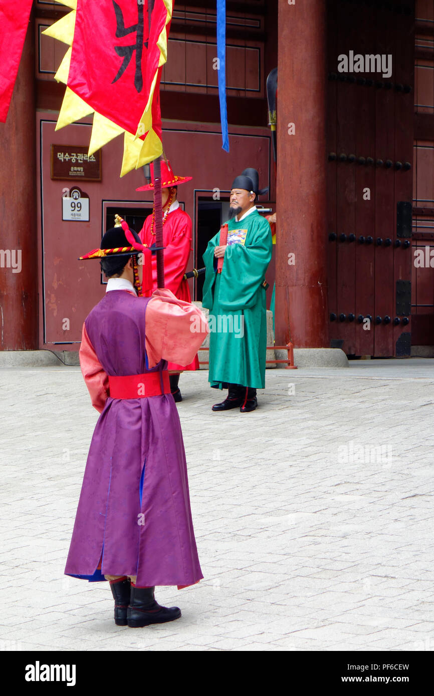 Ceremony of the guards in front of the Deoksugung royal palace, Seoul, South Korea, Asia. Stock Photo