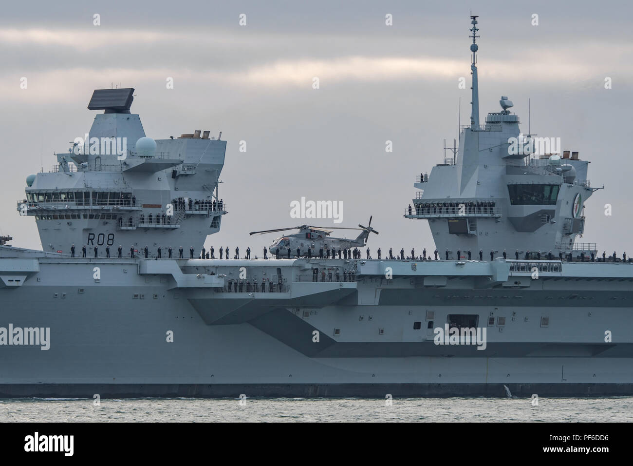 A close up of the twin islands on the Royal Navy aircraft carrier HMS Queen Elizabeth as the warship departs the UK for the United States on 18/8/18. - Stock Image