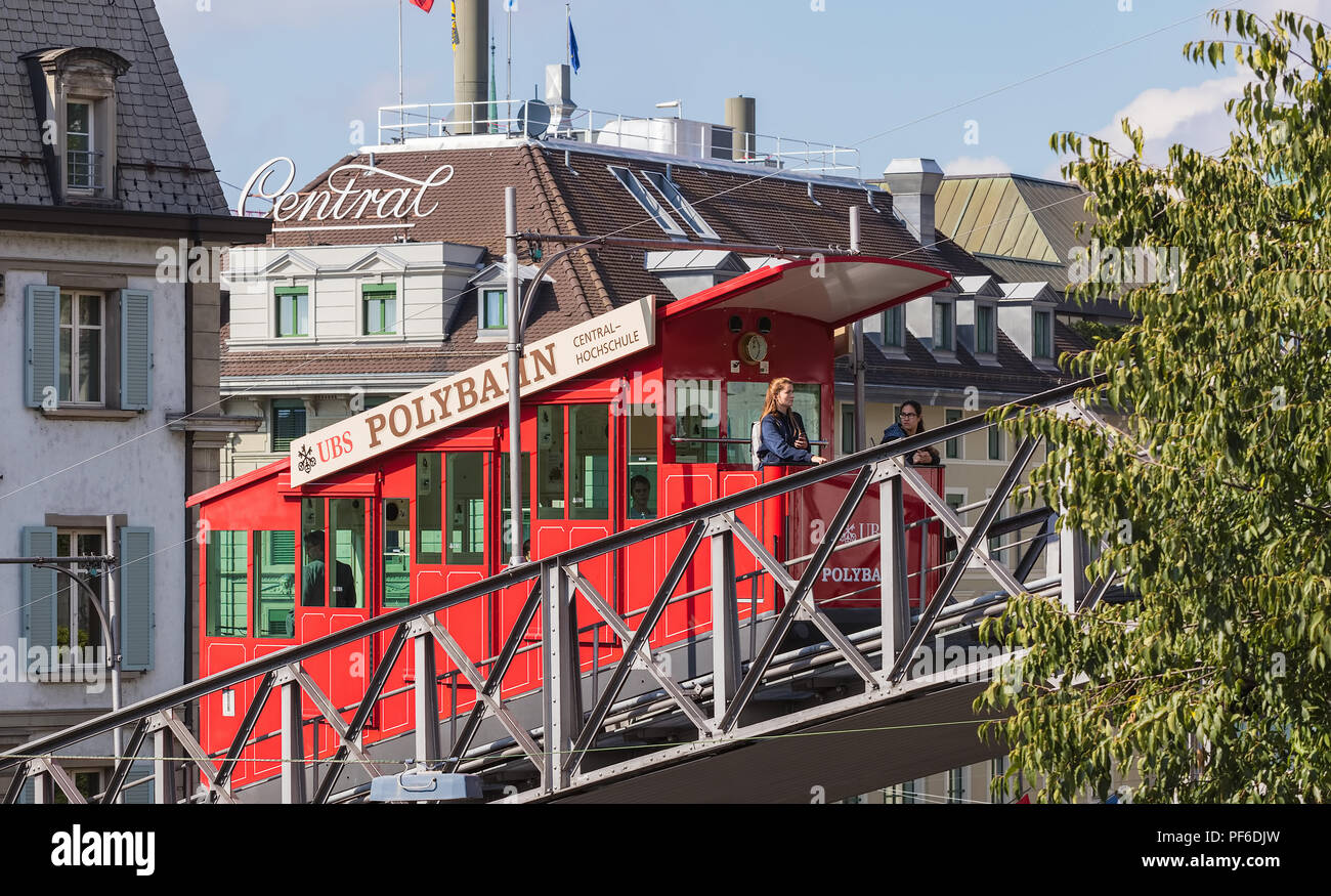 Zurich, Switzerland - September 27, 2017: the Polybahn funicular railway. The Polybahn, also known as the UBS Polybahn, is a funicular railway in the  - Stock Image