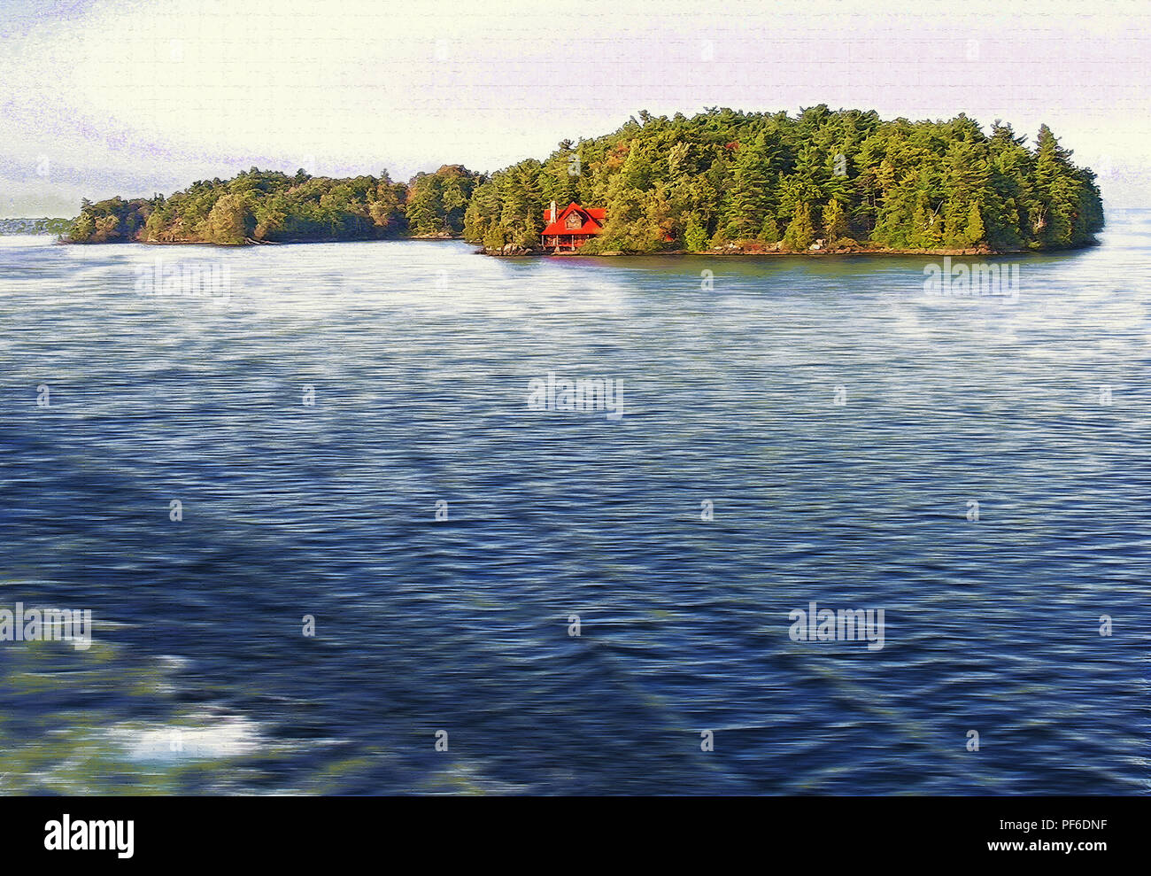 While on a ferryboat tourist cruise in the Thousand Island, Alexandria Bay, region of upper state New York, USA, we encountered many picturesque views Stock Photo