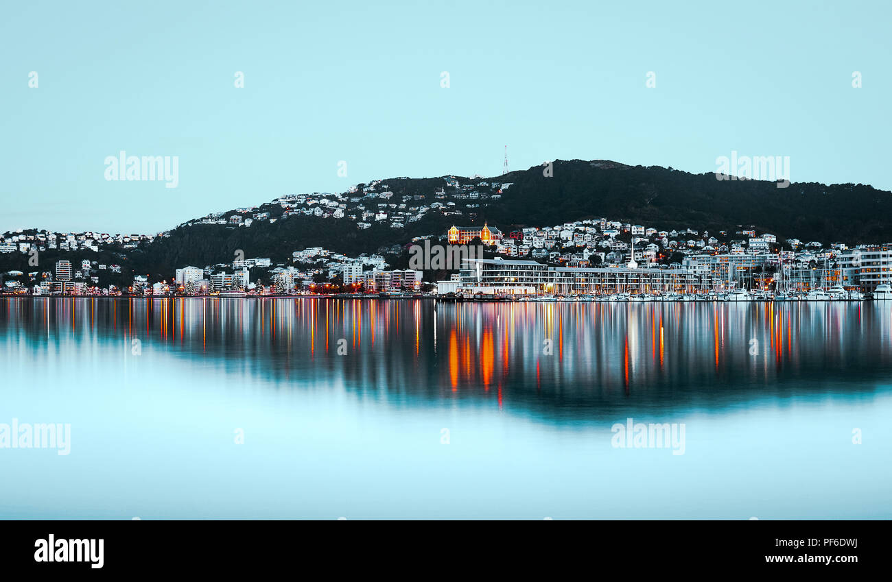 a stunning reflection view of Wellington, New Zealand - Stock Image