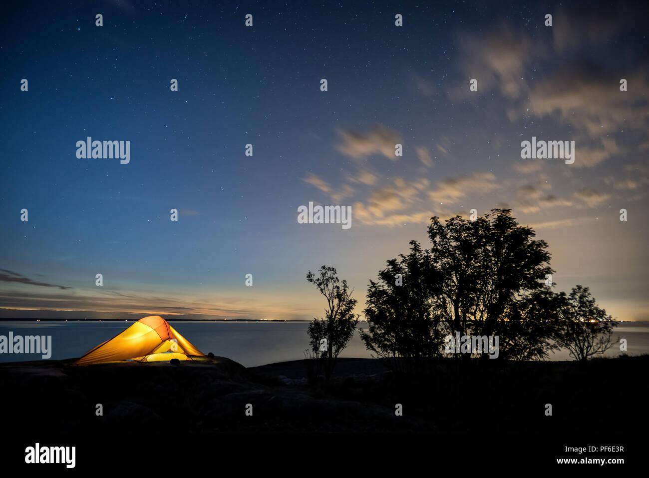 Camping at Örskär island, Kirkkonummi, Finland, Europe, EU - Stock Image