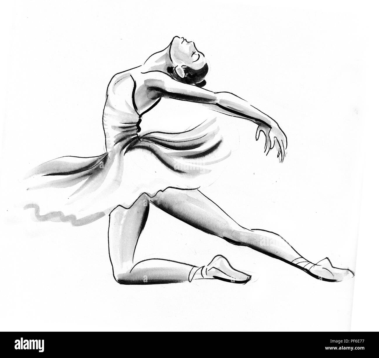 Dancing Ballerina Ink And Watercolor Illustration Stock Photo Alamy