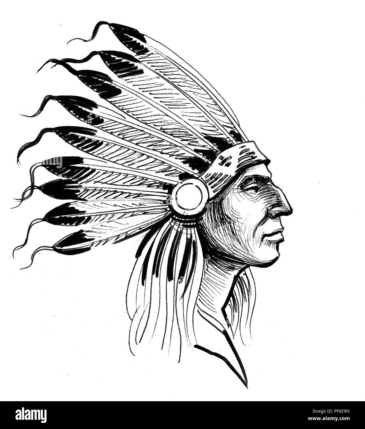 Indian Chief. Ink black and white illustration - Stock Image