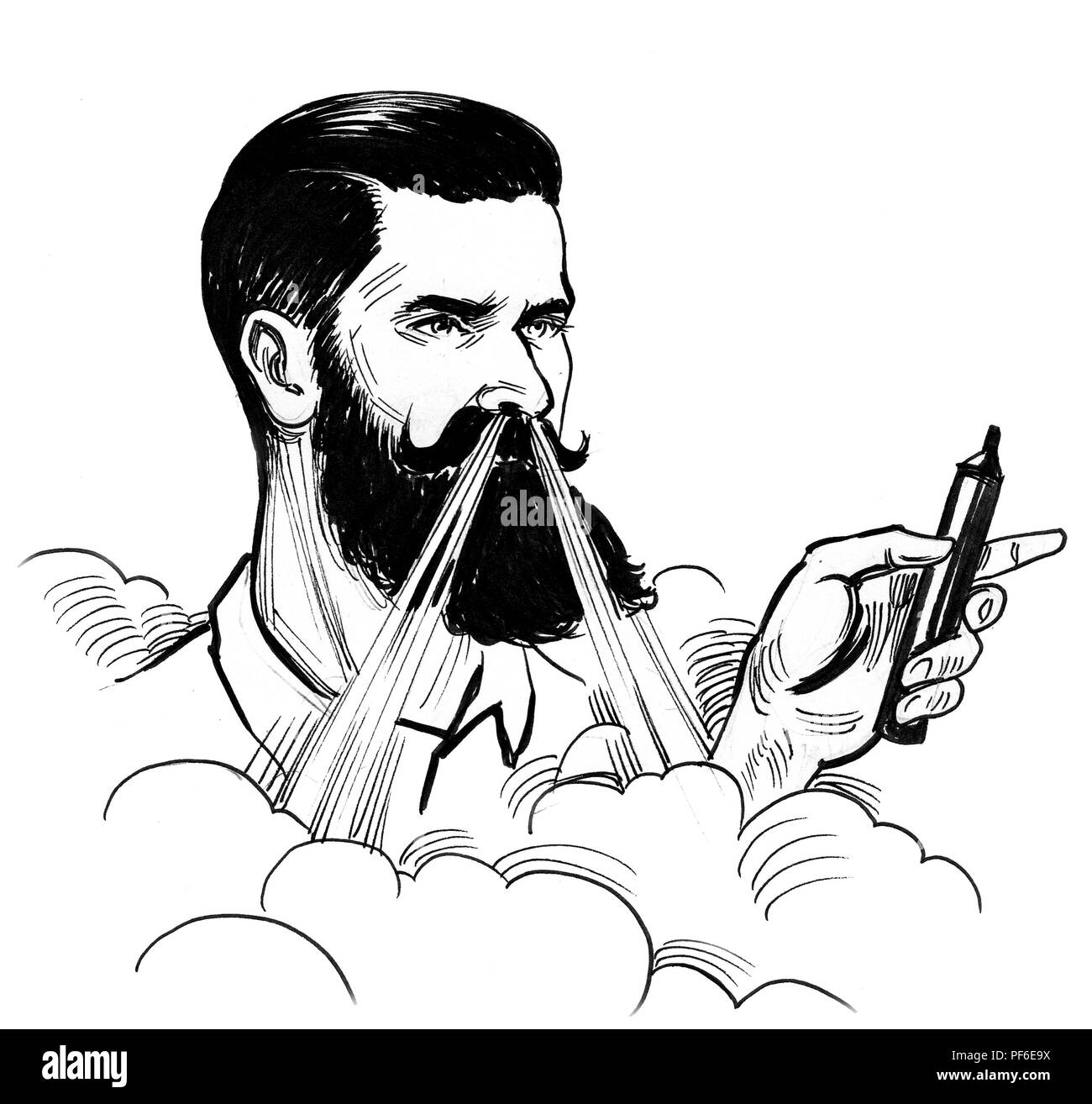 Bearded man with a vaporizer. Ink black and white illustration Stock Photo