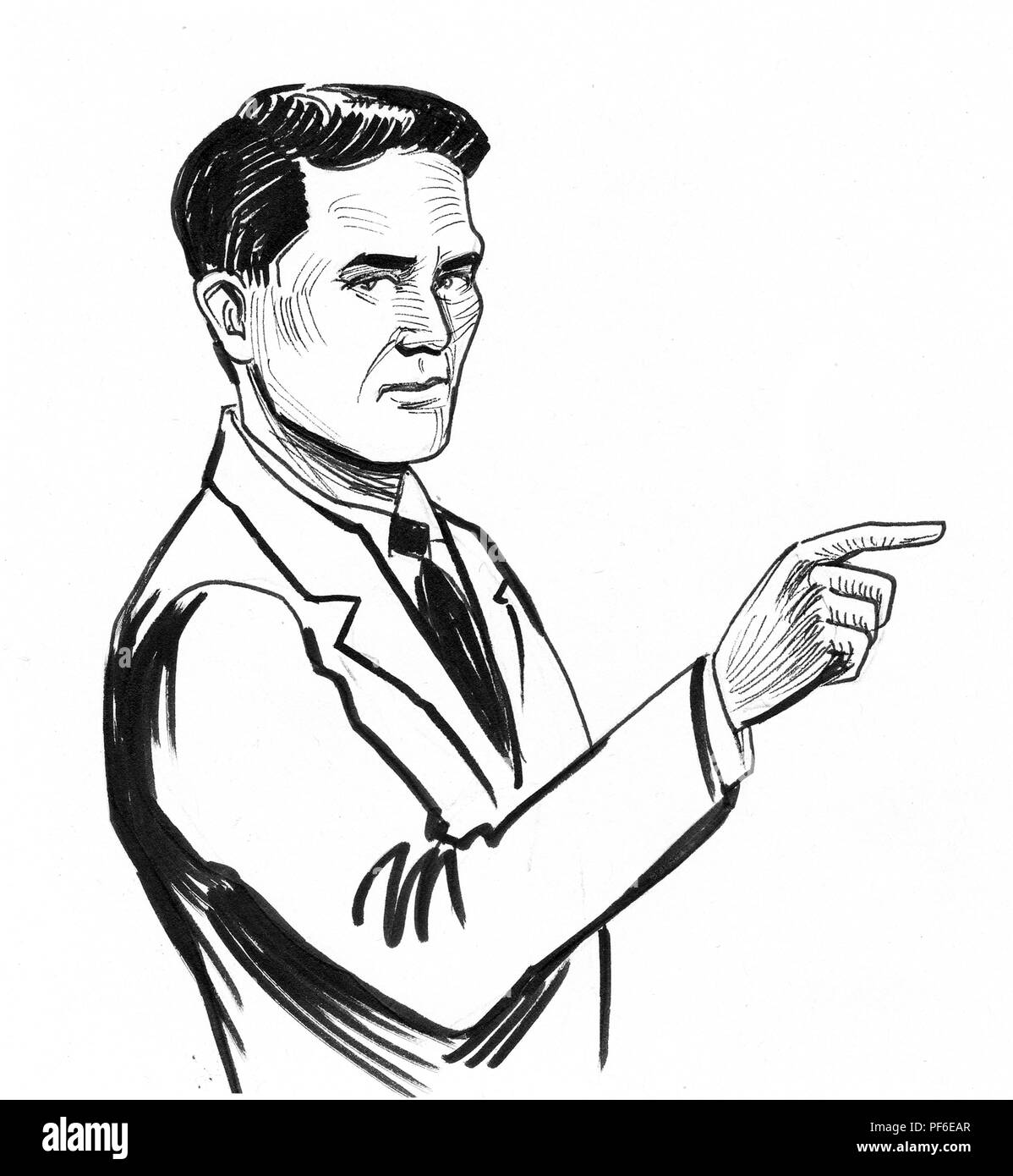 Man pointing right ink black and white drawing