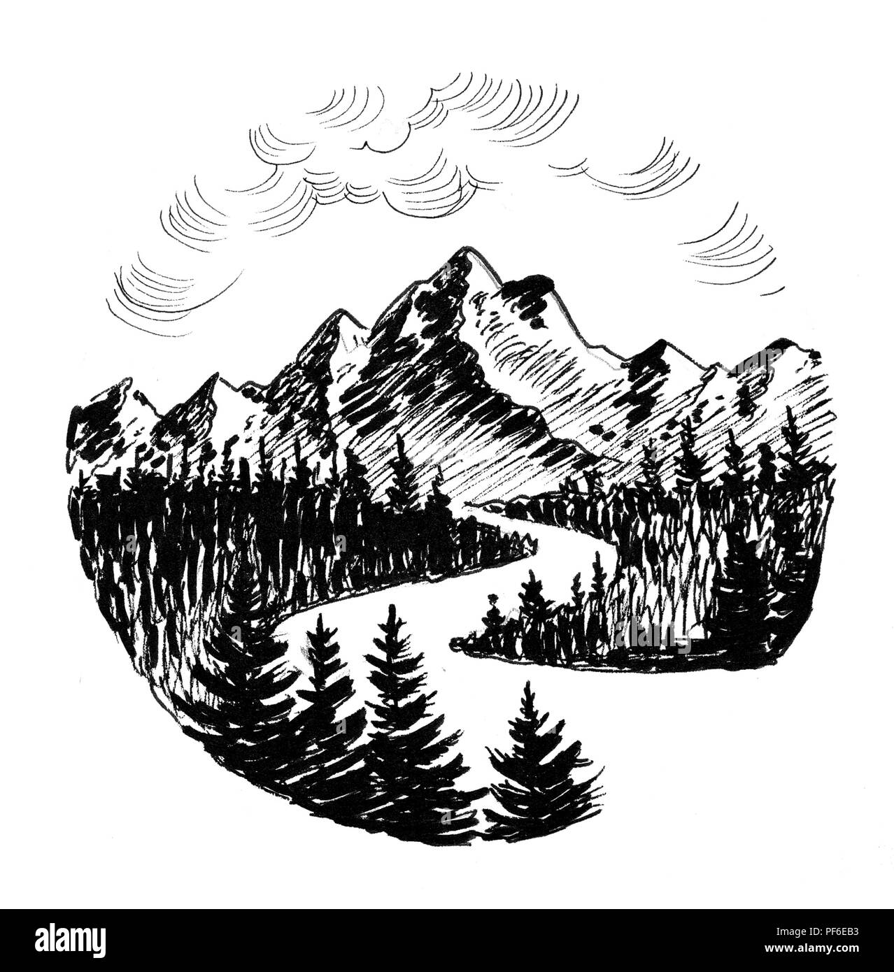 Mountain river landscape ink black and white drawing stock