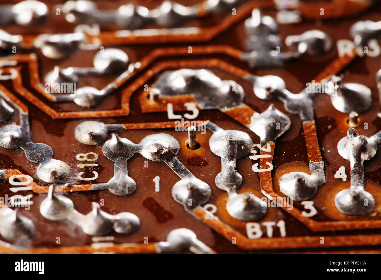 Retro Circuit Board Stock Photos Images Integrated Circuitvintage Chip Macro View Vintage Electronic Component With Soldering Traces Old Style Design