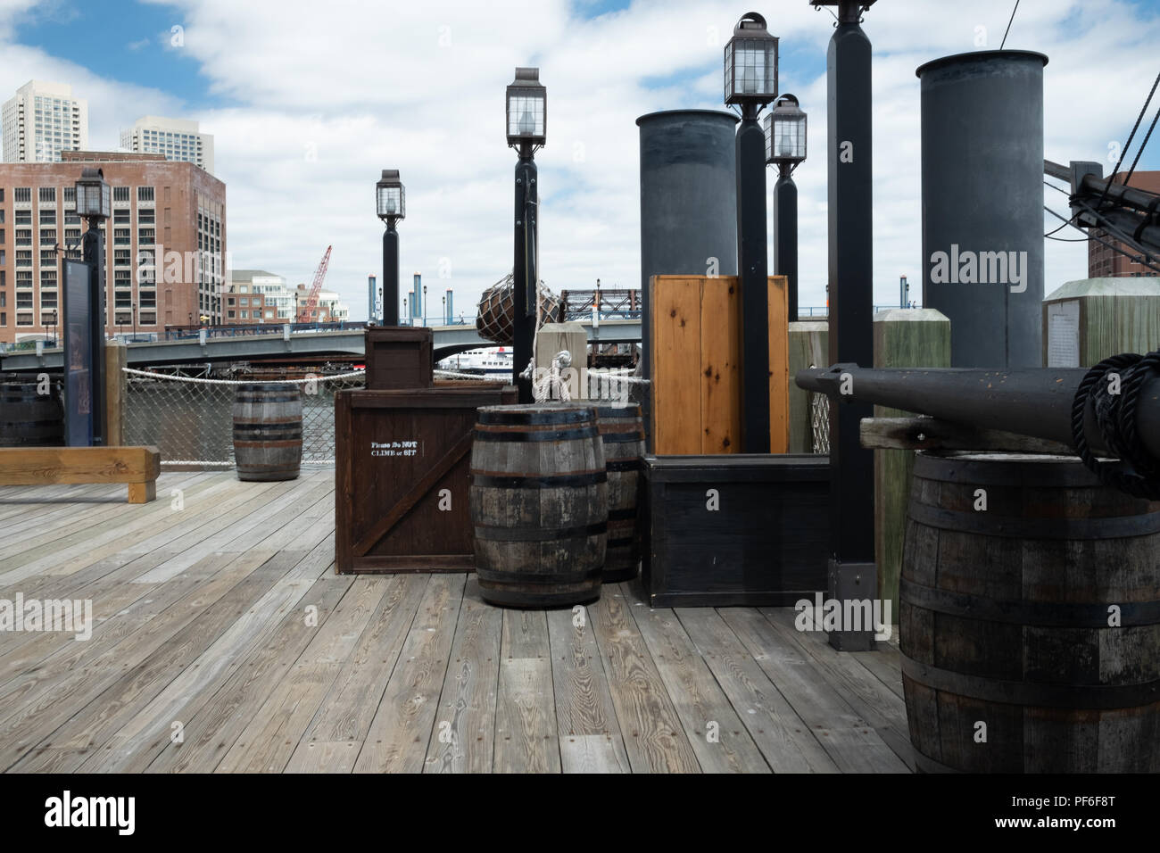 Wooden Barrels at Boston Tea Party Museum - Stock Image