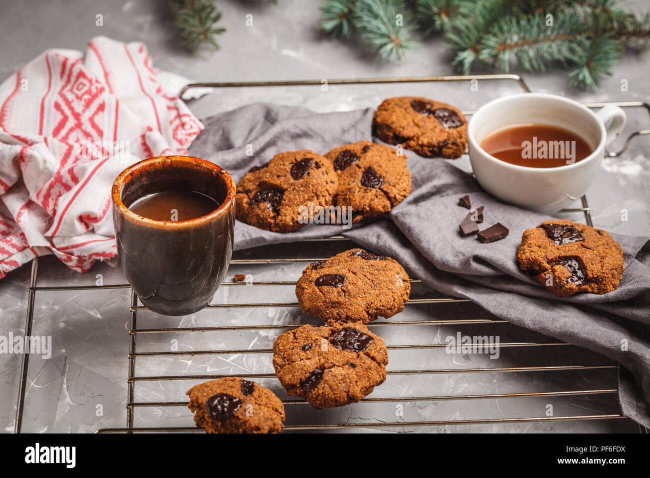 Christmas Cookies With Chocolate And Cocoa Gray Background