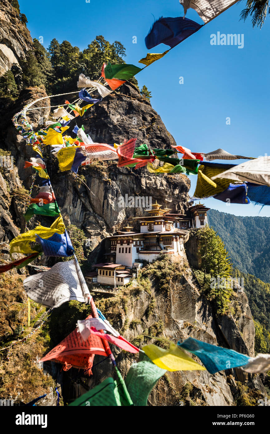 Tigers Nest, or Paro Taktsang as it is also know, near Paro, Bhutan - Stock Image