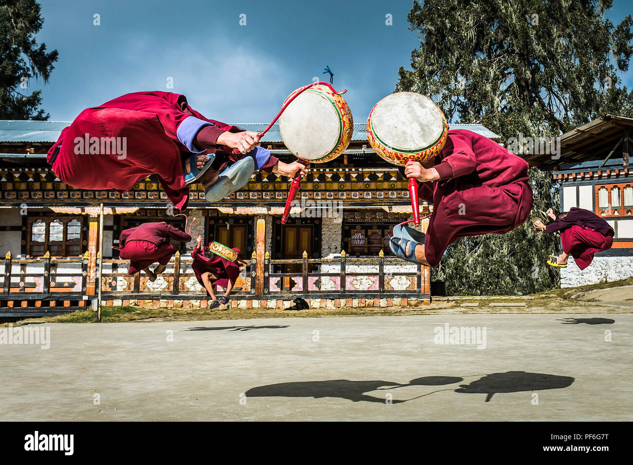 Monks practising the Black Hat Dance at a monastery near Chamkar, Bhutan - Stock Image