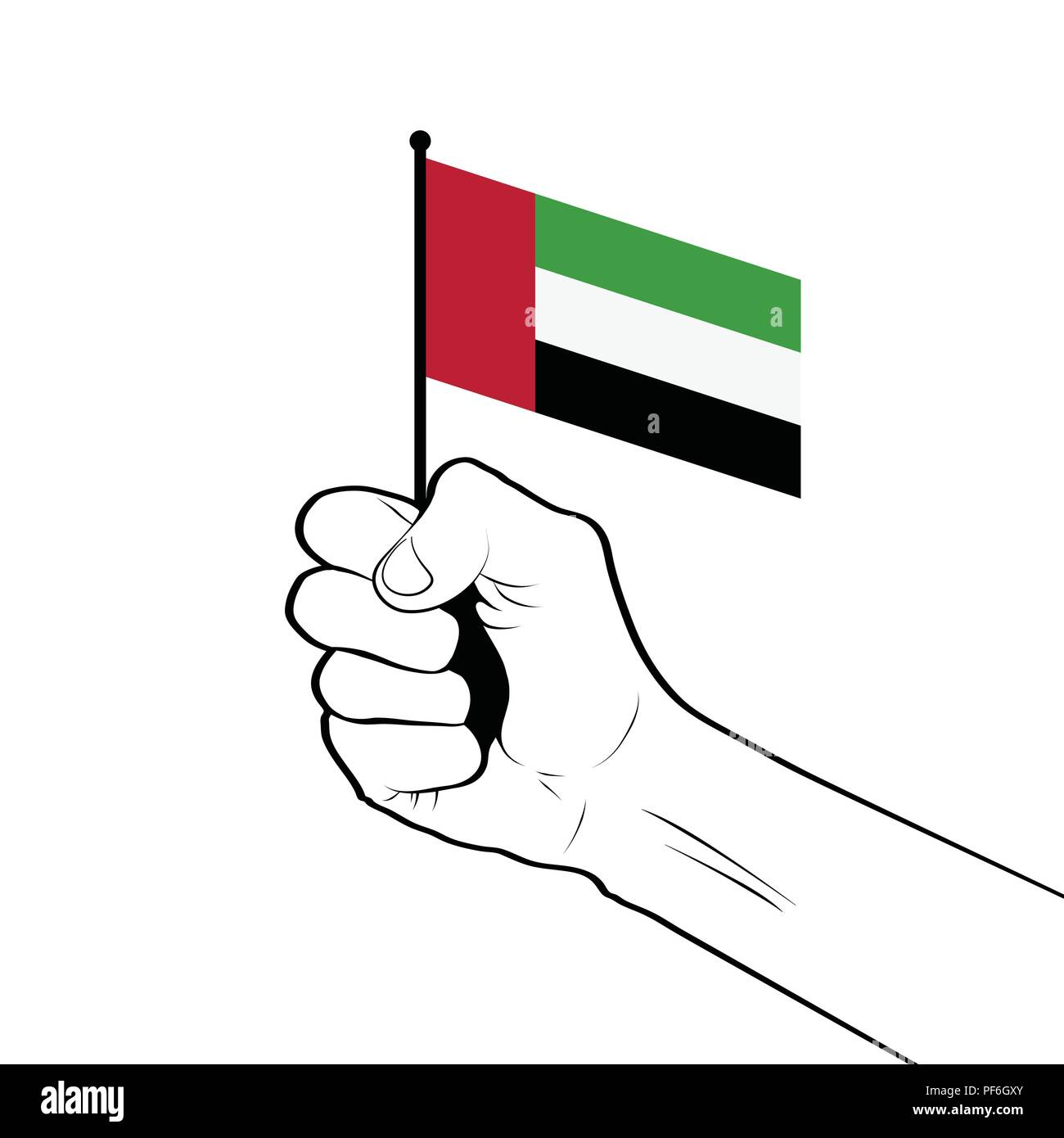 Clenched fist raised in the air holding the national flag of Uni - Stock Image