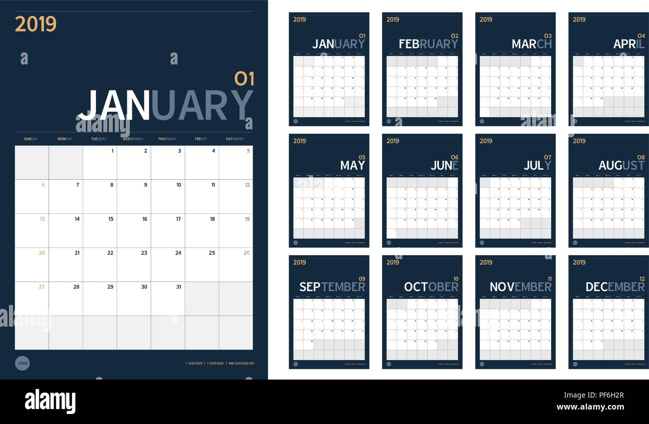 Vector of 2019 new year calendar set in clean minimal table simple style and navy blue color,Holiday event planner,Week Starts Sunday,A4 vertical size Stock Vector