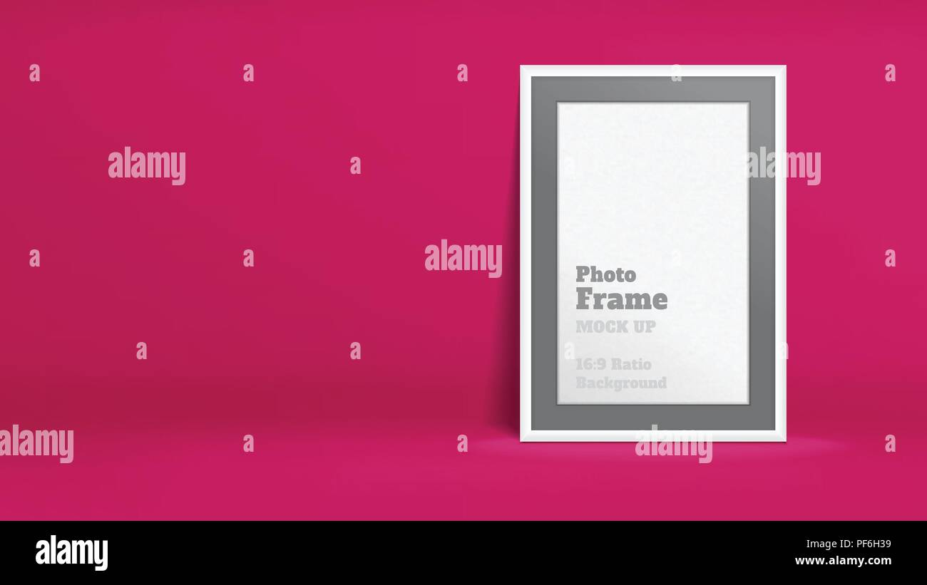 Vector of Blank Photo Frame in vivid pink studio room, Template mock up for display or montage of your content,Business presentation backdrop, 16:9 ra - Stock Vector