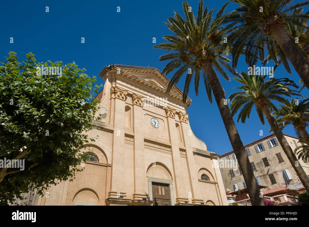 The Church of the Immaculate Conception, L'Île-Rousse, Corsica, France, Europe - Stock Image