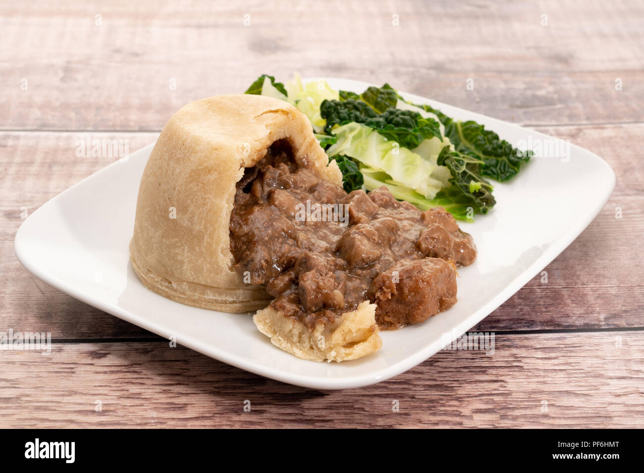 Steak and kidney suet pastry pudding - Stock Image