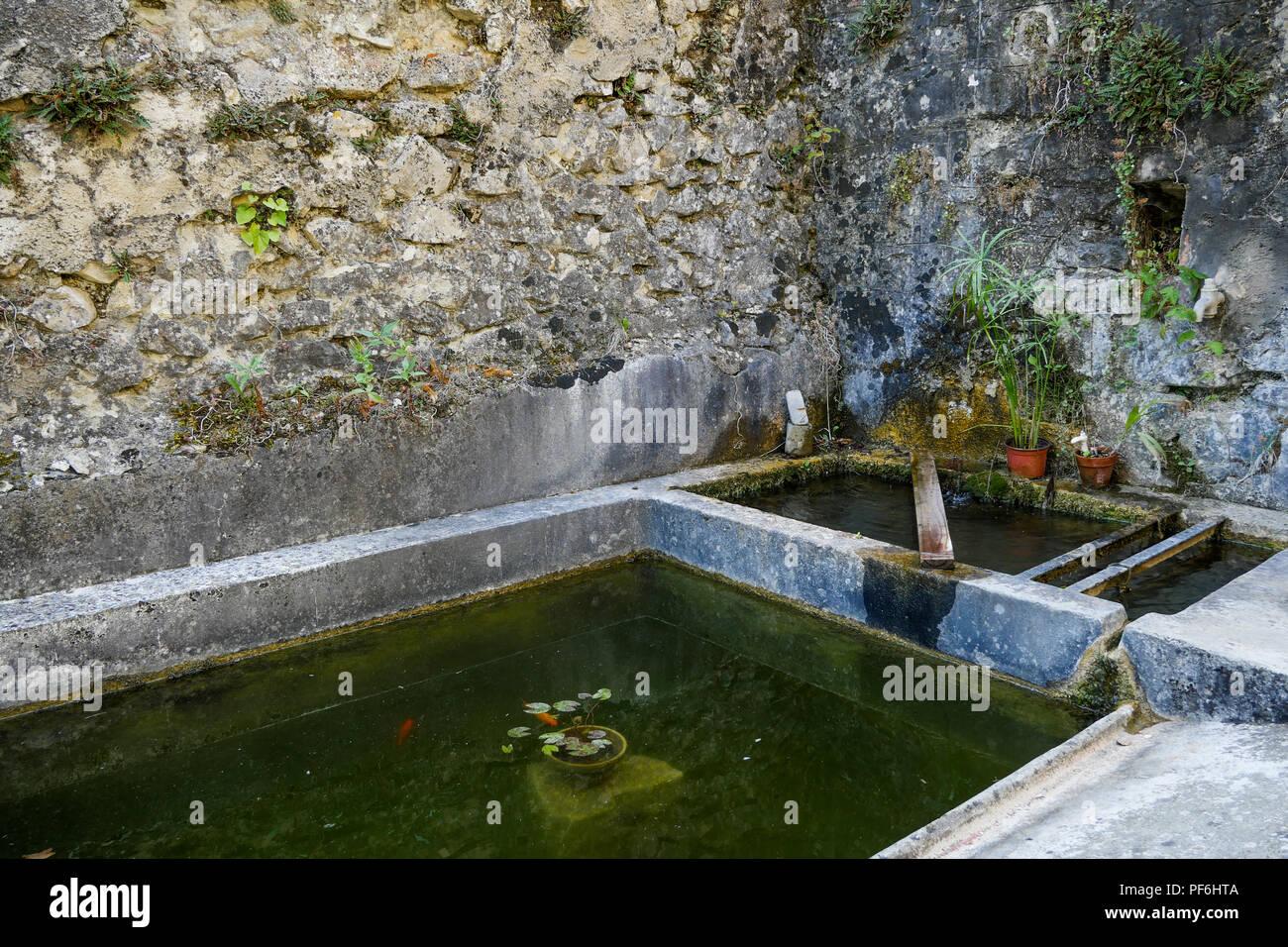 Washtub, Félines, Drome, France - Stock Image