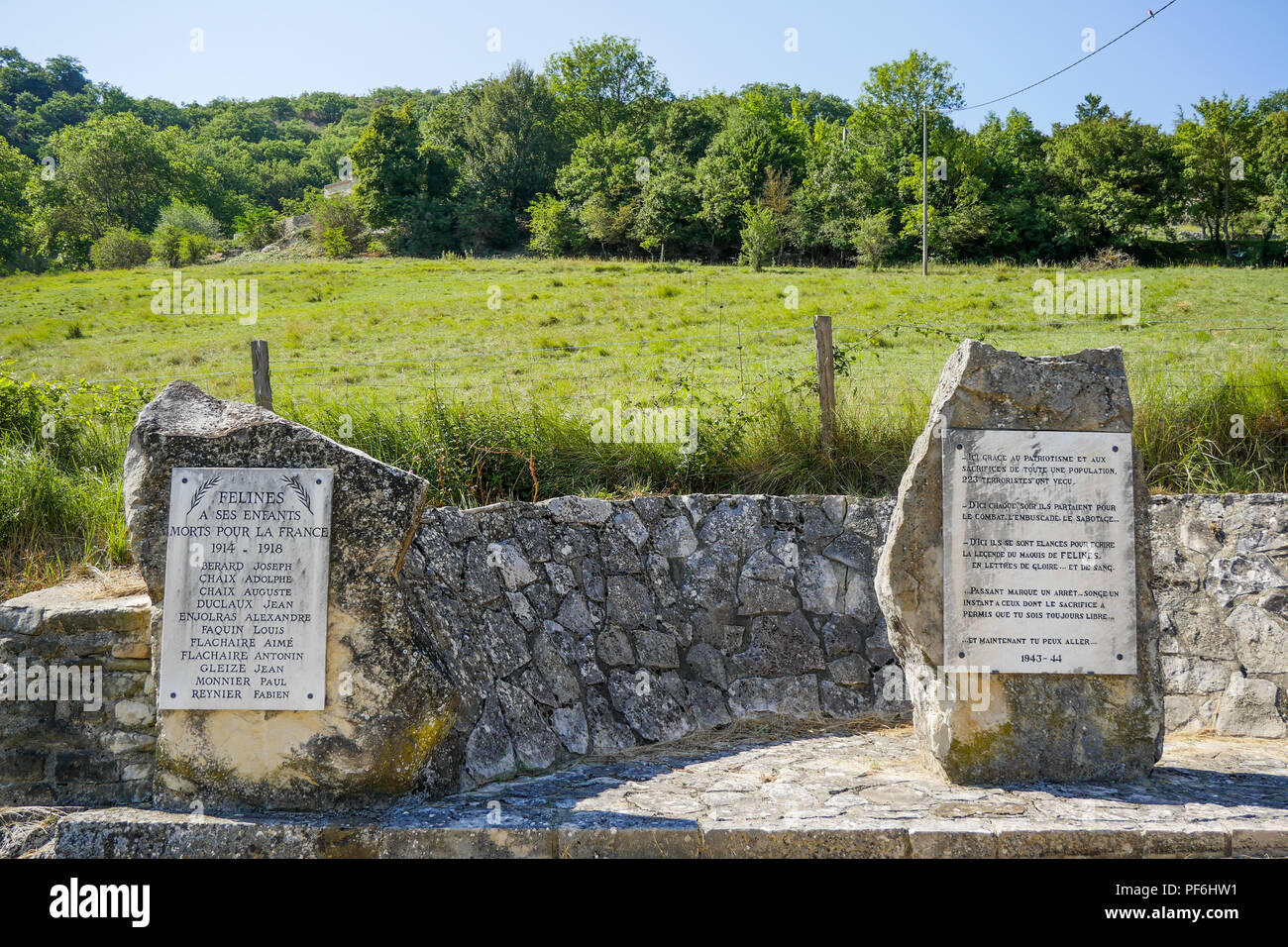 War memorials in homage to the soldiers killed during WWI and to the Maquis of Félines, Félines, Drome, France - Stock Image