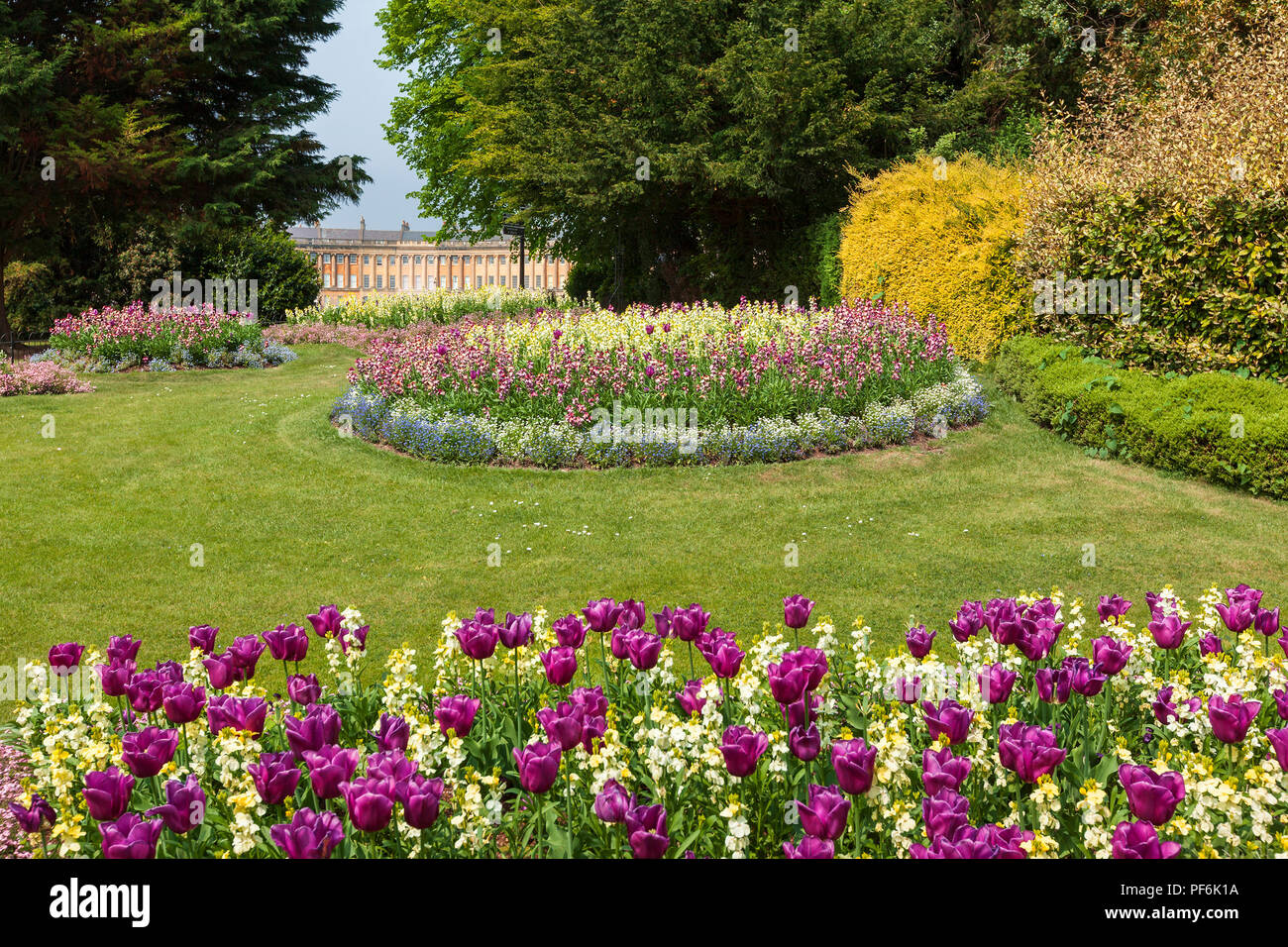 Flower beds in Royal Victoria Park, Bath, England with the famous Royal Crescent seen in the distance behind. Stock Photo