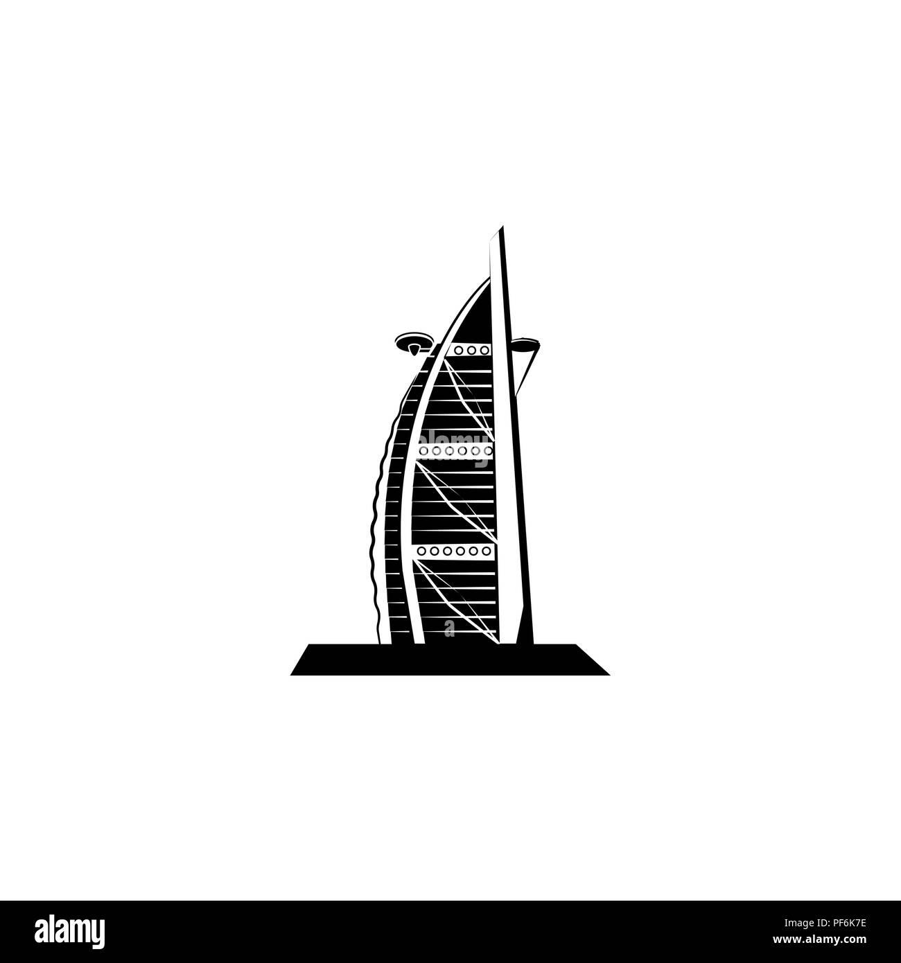 World Attractions. Hotel Burj El Arab in Dubai - Stock Image