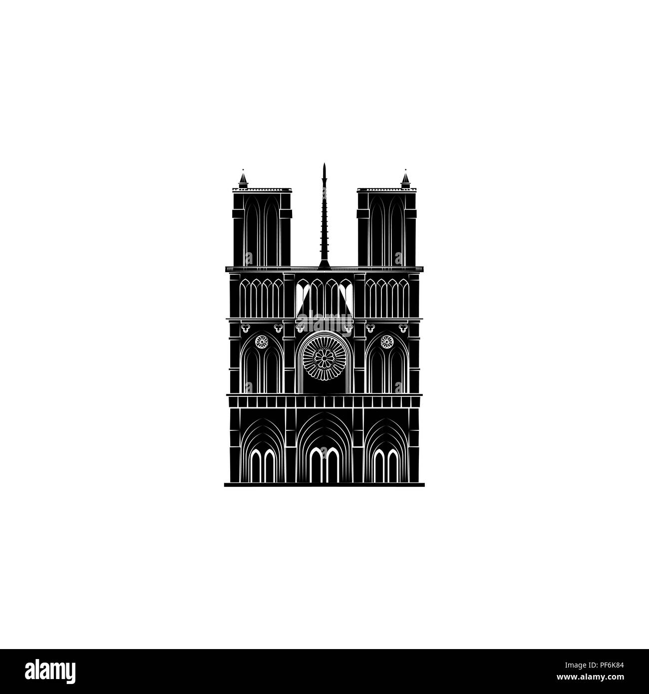 Notre Dame Cathedral black on white background - Stock Image
