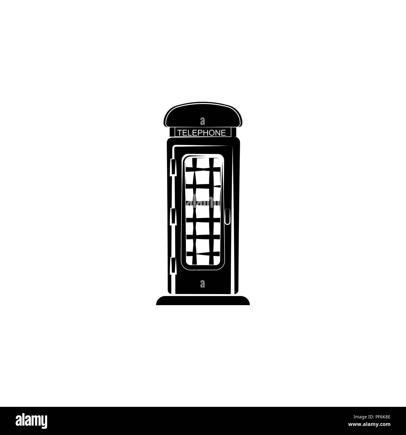 Phone booth vector black on white background - Stock Image